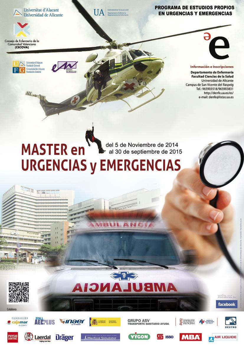 Tríptico informativo Máster en urgencias y Emergencias Universidad de Alicante