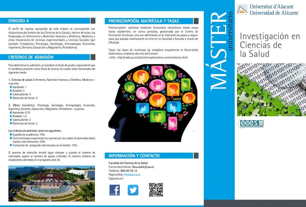 Máster Universitario Investigación en Ciencias de la Salud