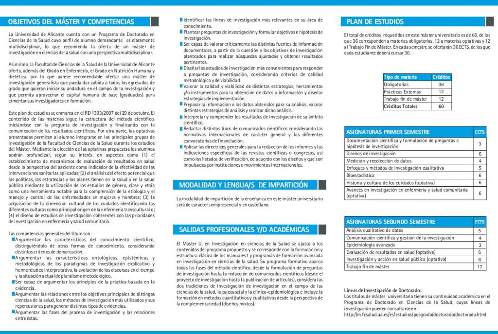 Máster Universitario Investigación en Ciencias de la Salud Alicante