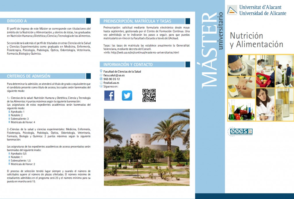 Máster Universitario nutrición alimentación