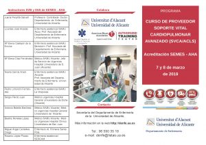 Proveedor de Soporte Vital Cardiovascular Avanzado. Asociación Americana del Corazón (30h)